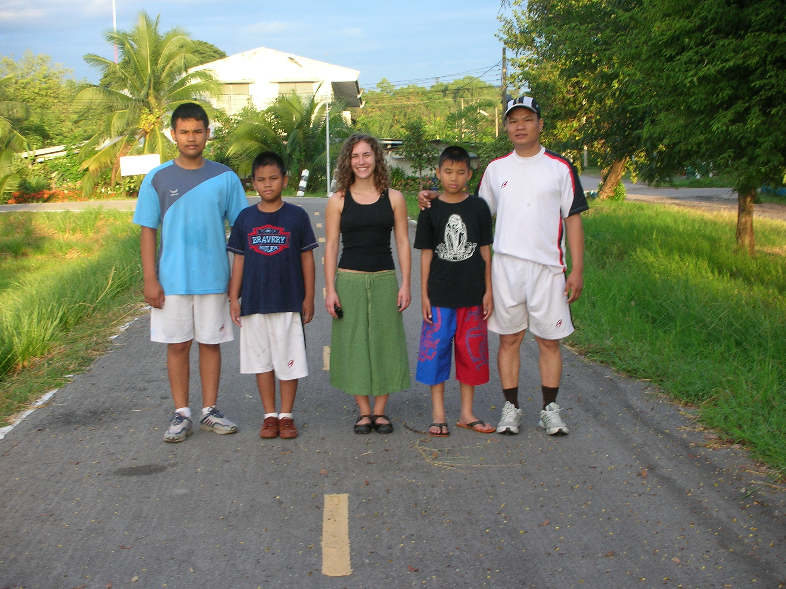 The most awkward picture ever! This was the family I stayed with on my second homestay. They wanted to take a picture, but nobody wanted to stand close to me...