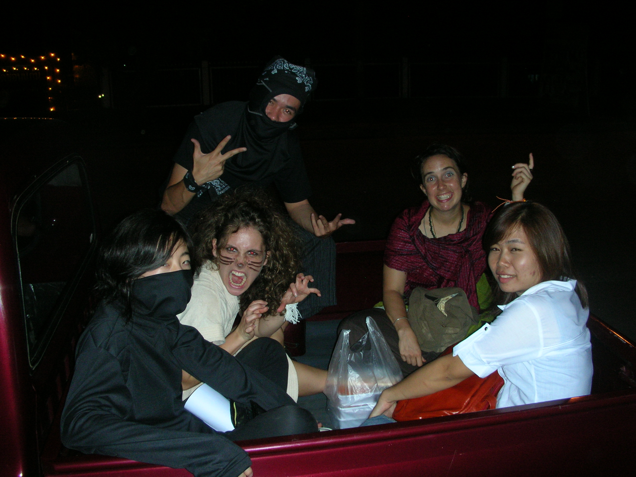 Halloween in Thailand! Two ninjas, a lion, and a fortune teller on the way to the Halloween Party at Sunset Bar. Sunset Bar is outside the city and if you call they will come pick you up with their truck. The bar is like an artsy/woodsy version of the Sundowner for all you Boulder folks reading this.