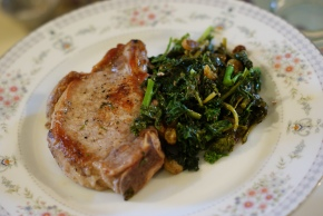 Pork Chops with Sautéed Broccoli Raab